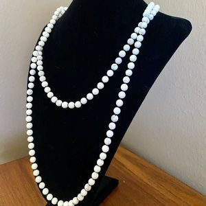 Long Marble Bead Necklace